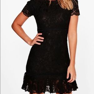 Lace Detail Frill Bodycon Dress